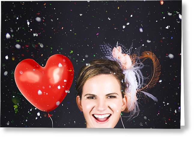 Floating Girl Greeting Cards - Happy Bride In Confetti During Wedding Celebration Greeting Card by Ryan Jorgensen