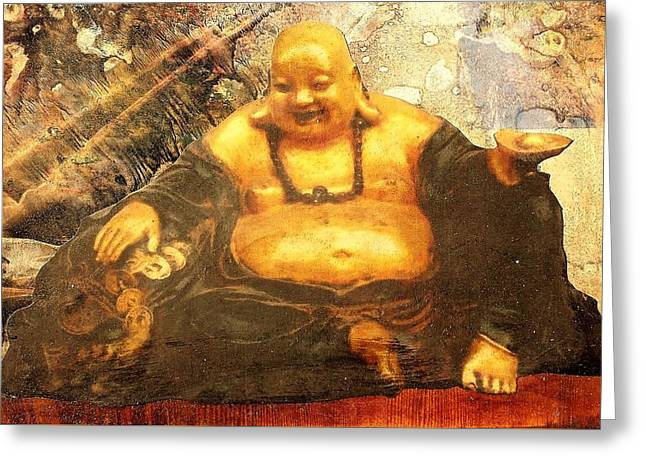 Happy Buddha Greeting Card by Fawn Waterfield