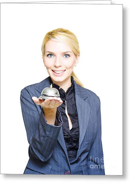 Happy Business Woman Holding Service Bell Greeting Card by Jorgo Photography - Wall Art Gallery
