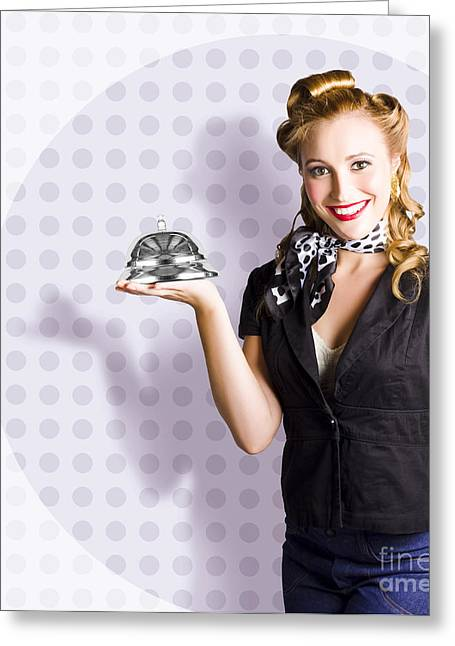 First-class Greeting Cards - Happy Business Woman Smiling With Service Bell Greeting Card by Ryan Jorgensen