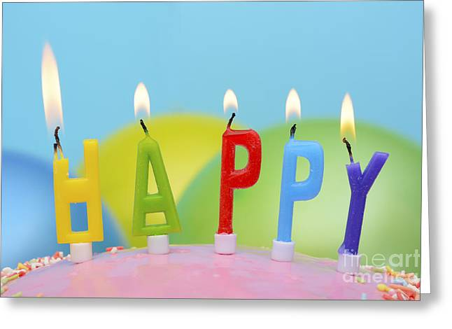 Candle Lit Greeting Cards - Happy Candles Greeting Card by Milleflore Images