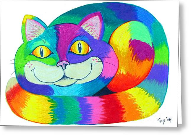 Cat Eyes Drawings Greeting Cards - Happy Cat Greeting Card by Nick Gustafson