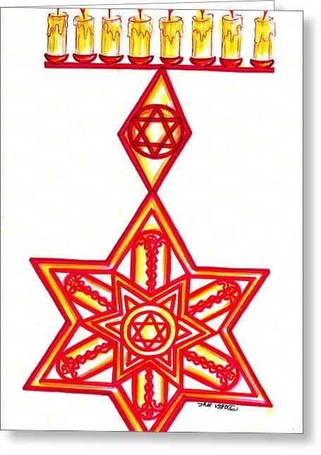 Menorah Greeting Cards - Happy Chanukah Greeting Card by Judith Herbert