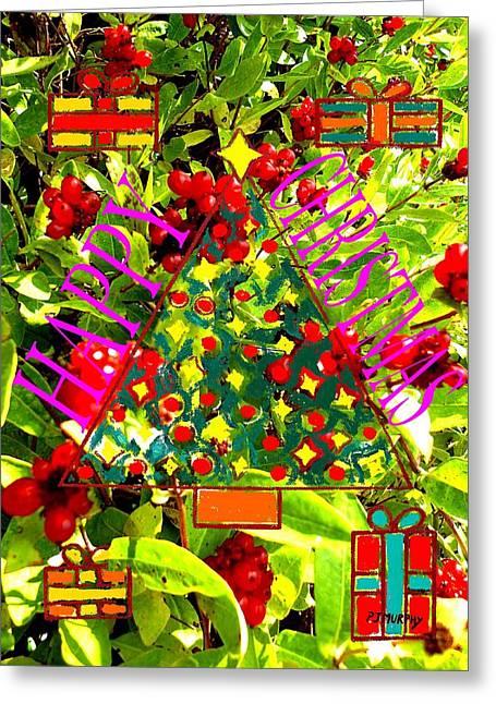 Christmas Art Greeting Cards - Happy Christmas 25 Greeting Card by Patrick J Murphy