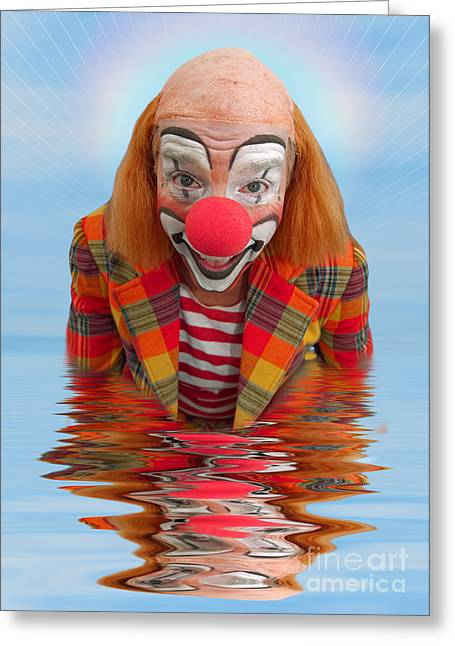 Toby Greeting Cards - Happy Clown A173323 5x7 Greeting Card by Rolf Bertram