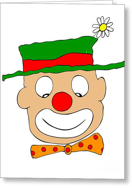 Clowns Drawings Greeting Cards - Happy Clown Greeting Card by Michal Boubin