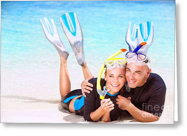 Snorkel Greeting Cards - Happy couple enjoys beach activities Greeting Card by Anna Omelchenko