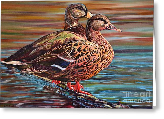 Water Fowl Greeting Cards - Happy Couple Greeting Card by Vicki McCracken