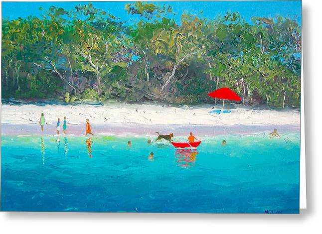 Kids Playing At Beach Greeting Cards - Happy Days Greeting Card by Jan Matson