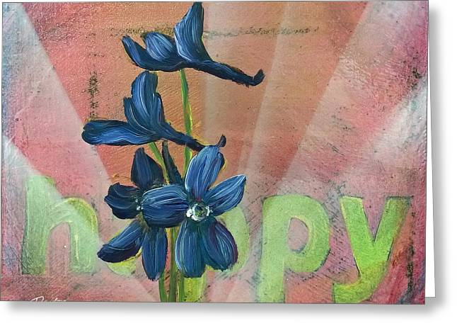 Graffiti Art For The Home Greeting Cards - Happy Delphinium Greeting Card by Andrea LaHue