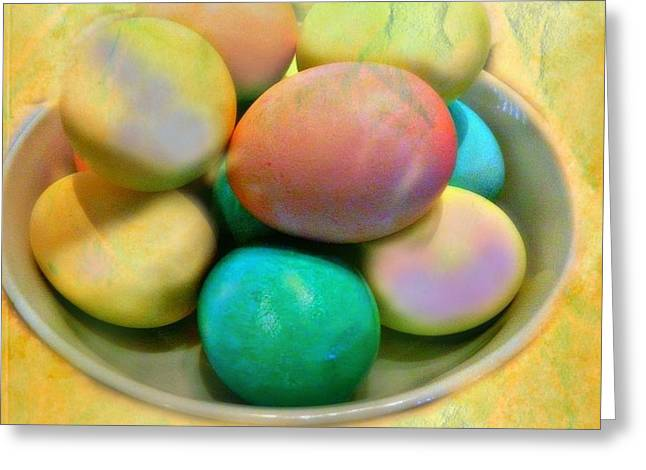 Egg Sculpture Greeting Cards - Happy Easter Eggs Greeting Card by Kathy Barney