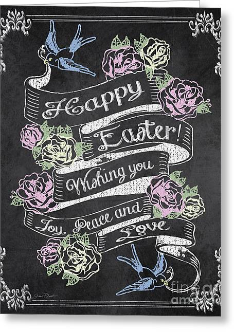 Easter Flowers Paintings Greeting Cards - Happy Easter on Chalkboard-JP2869 Greeting Card by Jean Plout