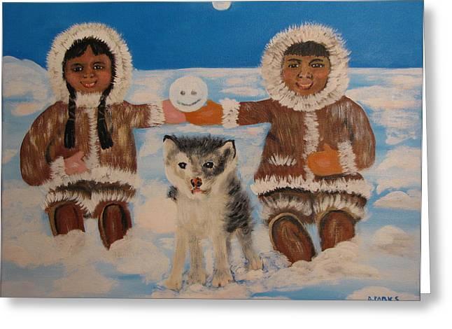 Husky Greeting Cards - Happy Eskimos Greeting Card by Aleta Parks
