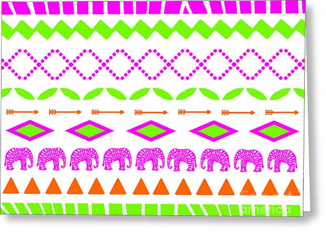 Home Decor Posters Mixed Media Greeting Cards - Ethnic Tribal Elephant Print Pink and Lime Greeting Card by ArtyZen Studios - ArtyZen Home