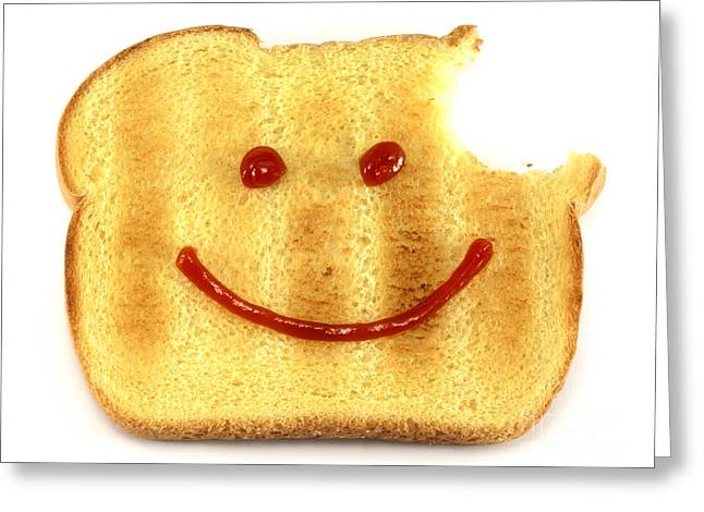 Slices Greeting Cards - Happy face and Bread Greeting Card by Blink Images