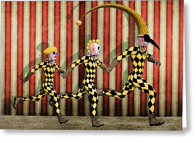 Doll Drawings Greeting Cards - Happy family By Quim Abella Greeting Card by Joaquin Abella
