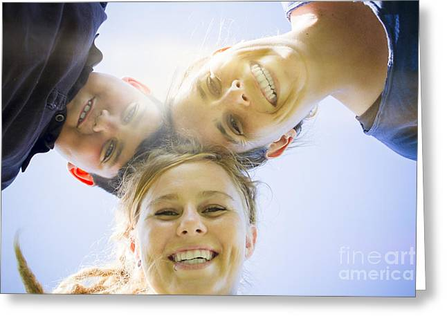 Girl Looking Down Greeting Cards - Happy family smiling in sun light summer garden Greeting Card by Ryan Jorgensen