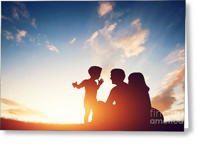 Caring Mother Greeting Cards - Happy family together at sunset. Greeting Card by Michal Bednarek