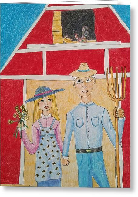 Happy Farm Couple Greeting Card by Clara Brayton