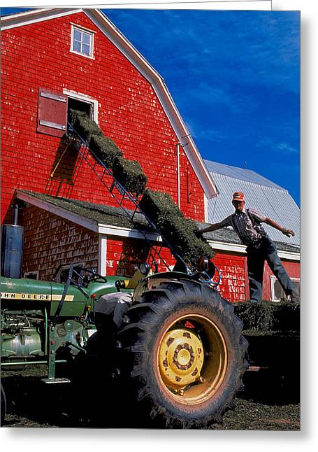 Maine Farms Greeting Cards - Happy Farmer Greeting Card by Carl Purcell