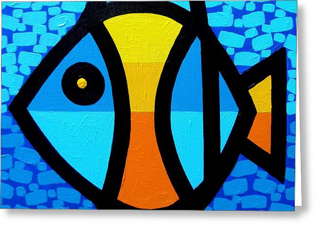 Decorative Fish Greeting Cards - Happy Fish Greeting Card by John  Nolan