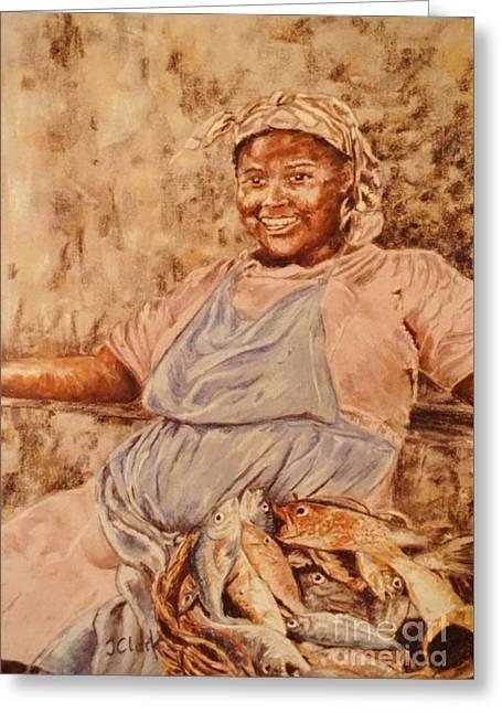 Happy Fish Seller Greeting Card by John Clark
