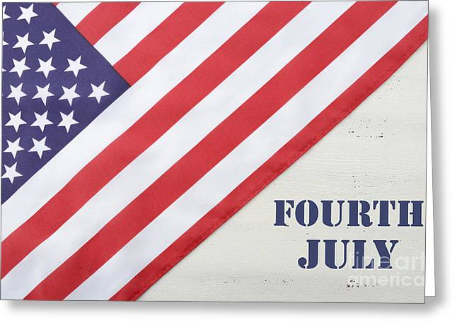 Independance Day Greeting Cards - Happy Fourth of July USA Flag on White Wood Table Greeting Card by Milleflore Images