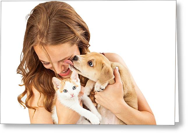 Happy Girl With Kitten And Affectionate Puppy Greeting Card by Susan Schmitz