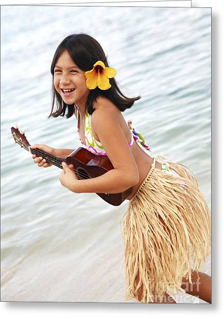 Precious Moment Greeting Cards - Happy Girl with Ukulele Greeting Card by Brandon Tabiolo - Printscapes