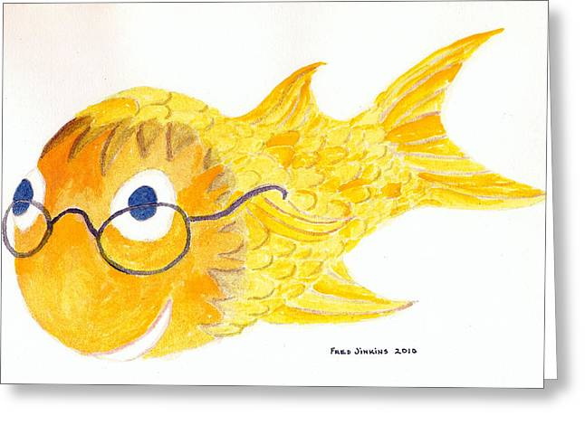 Fish Framed Prints Mixed Media Greeting Cards - Happy Golden Fish Greeting Card by Fred Jinkins