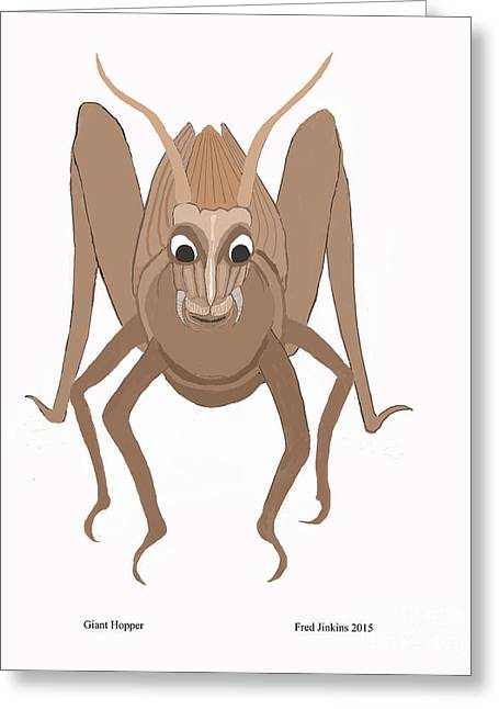 Biology Greeting Cards - Happy Grasshopper Greeting Card by Fred Jinkins