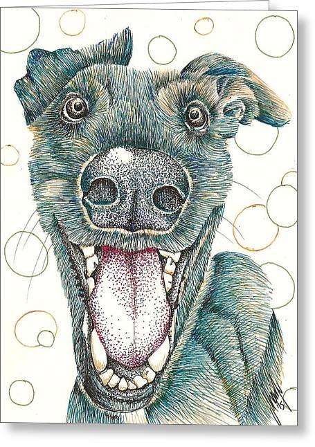 Greyhound Dog Drawings Greeting Cards - Happy Greyhound Greeting Card by Jeecs Art  By Sharife Gacel