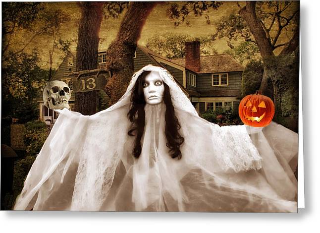 Haunted House Digital Greeting Cards - Happy Halloween Greeting Card by Jessica Jenney