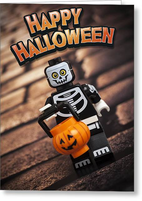 Minifig Greeting Cards - Happy Halloween Greeting Card by Samuel Whitton