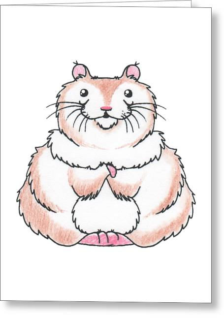 Hamster Drawings Greeting Cards - Happy Hamster Greeting Card by Rachel Huddleston