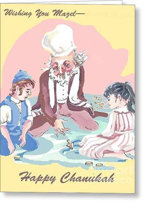 Happy Hanukah Greeting Card by Shirl Solomon