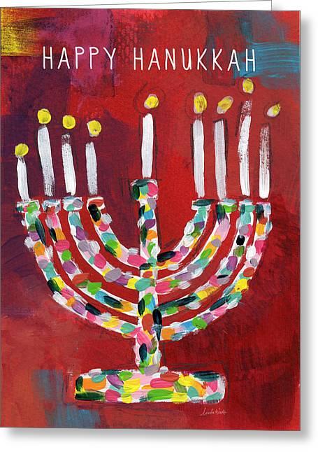 Happy Hanukkah Colorful Menorah Card- Art By Linda Woods Greeting Card by Linda Woods