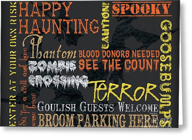 Happy Haunting Typography Greeting Card by Debbie DeWitt