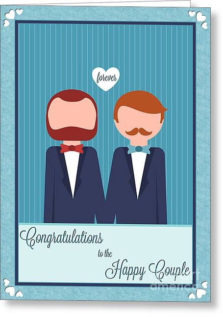 Special Occasion Greeting Cards - Happy Heart Striped Grooms Greeting Card by JH Designs
