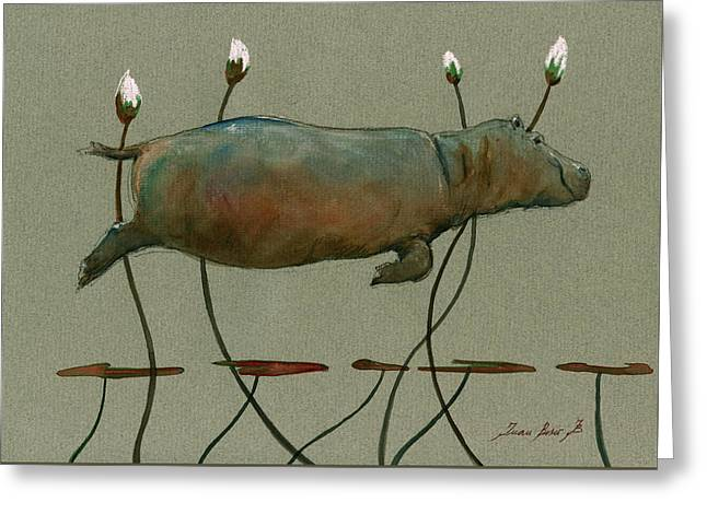 Happy Hippo Swimming Greeting Card by Juan  Bosco