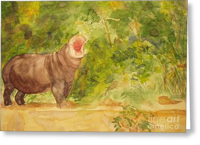 Happy Hippo Greeting Card by Vicki  Housel