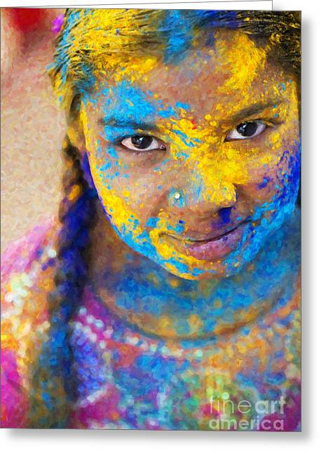 Radiates Greeting Cards - Happy Holi Greeting Card by Tim Gainey