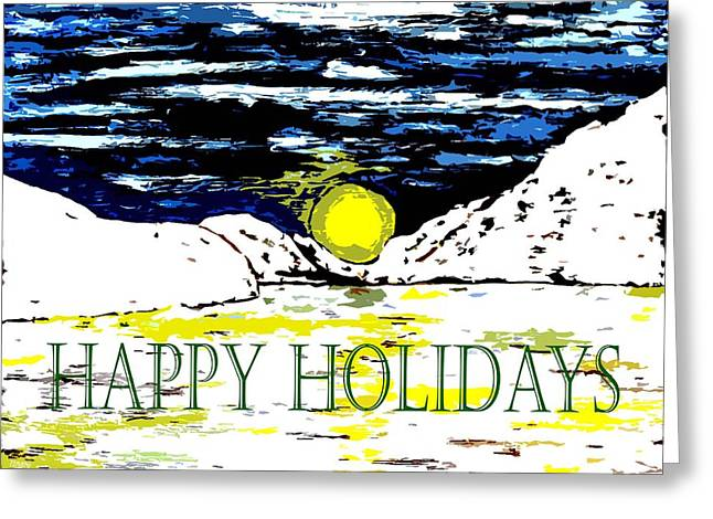 Snow Scene Mixed Media Greeting Cards - Happy Holidays 82 Greeting Card by Patrick J Murphy