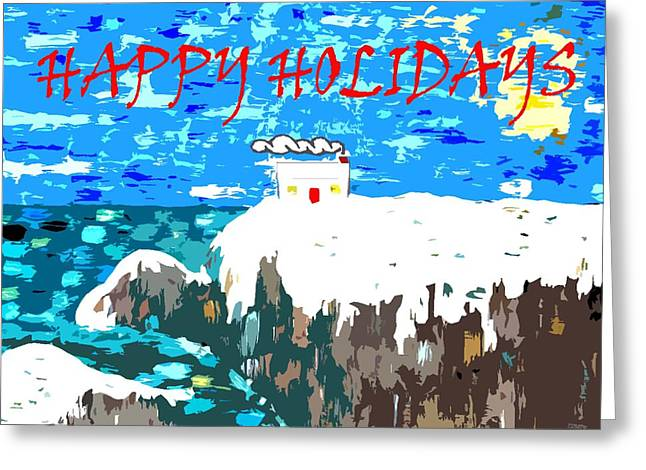 Snow Scene Mixed Media Greeting Cards - Happy Holidays 90 Greeting Card by Patrick J Murphy