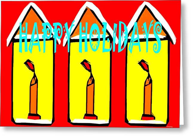 Candle Lit Greeting Cards - Happy Holidays 96 Greeting Card by Patrick J Murphy