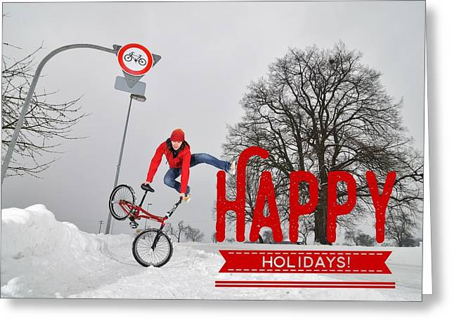 Happy Holidays Bmx Flatland Jump Greeting Card by Matthias Hauser