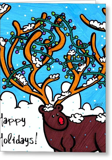 Rudolph Greeting Cards - Happy Holidays Greeting Card by Katie Hester