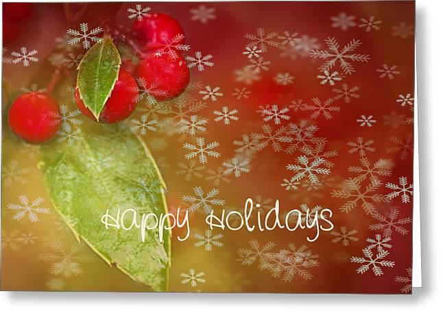 Red Berries Greeting Cards - Happy Holidays Greeting Card by Rebecca Cozart