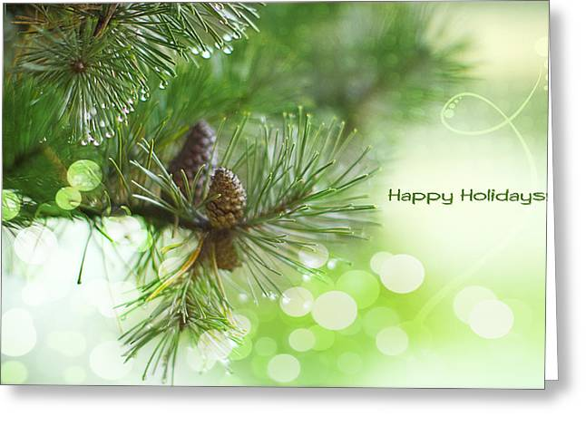 Pine Cones Photographs Greeting Cards - Happy Holidays Too Greeting Card by Rebecca Cozart