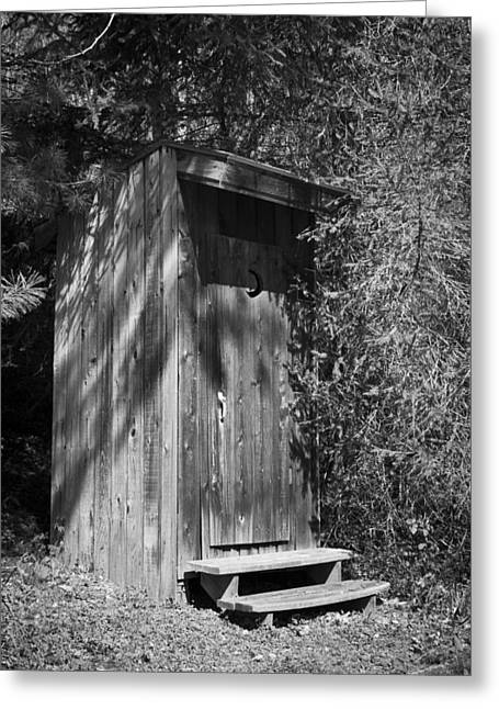 Outhouses Greeting Cards - Happy Hollow Outhouse Greeting Card by Teresa Mucha